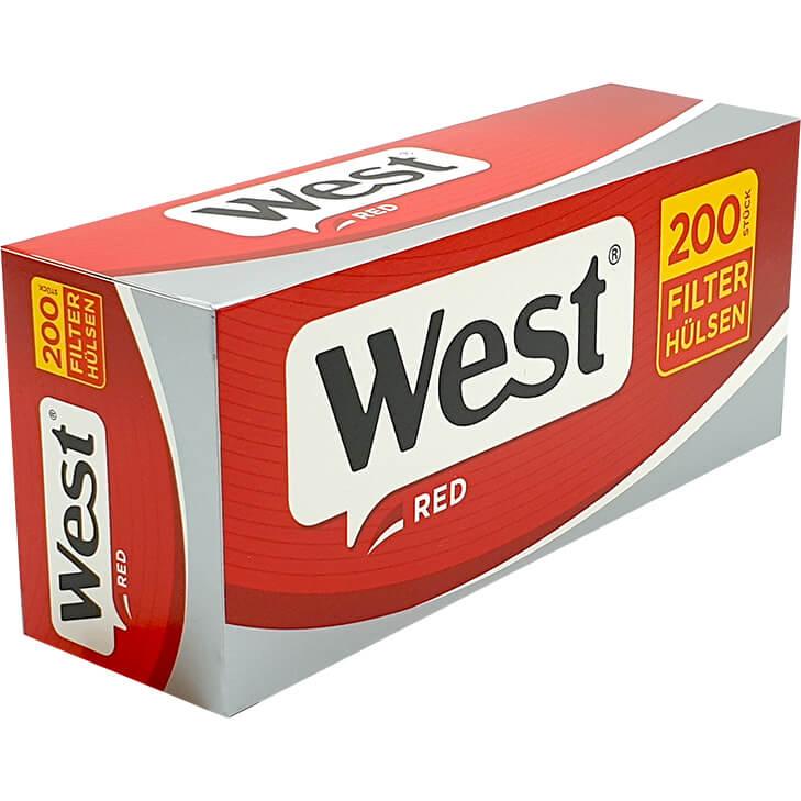 West Red 4 X 280g mit 2000 King Size Hülsen und USB Feuerzeug
