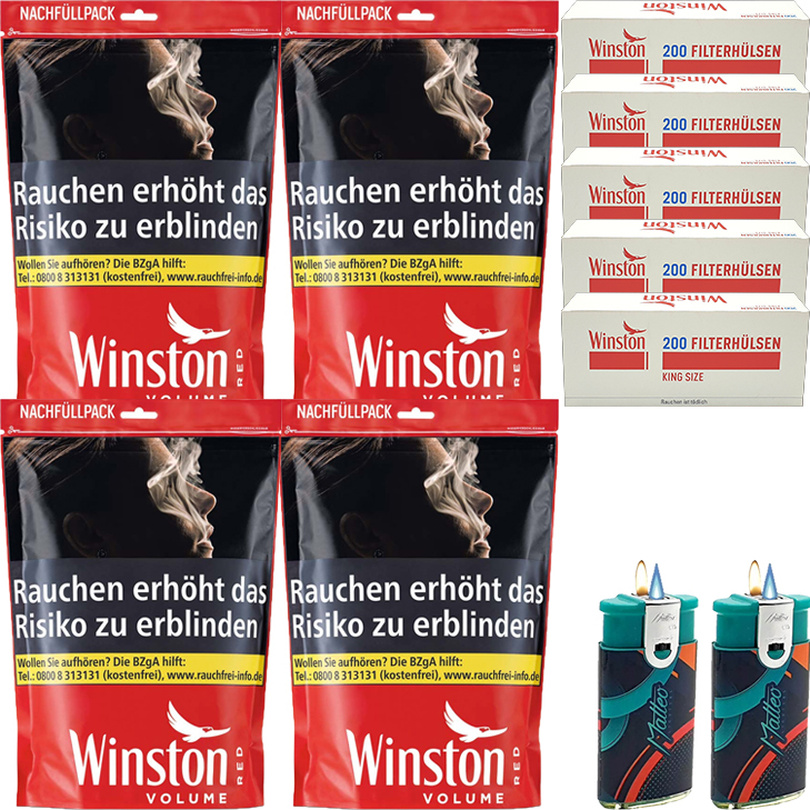 Winston Red 4 x 135g mit 1000 King Size Hülsen
