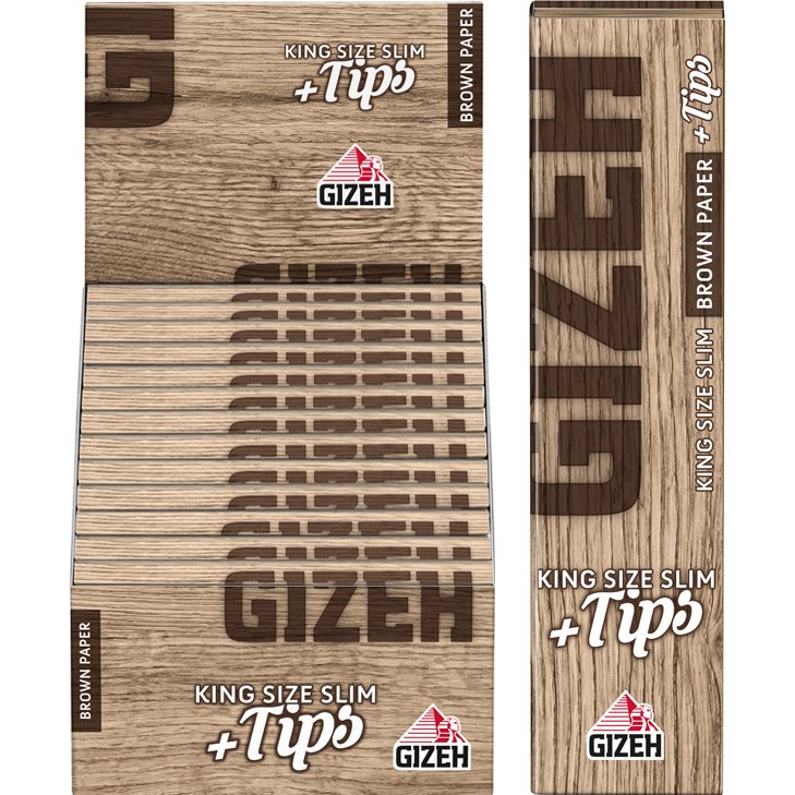 Gizeh Brown King Size Slim 26 x 34 Blatt + Tips