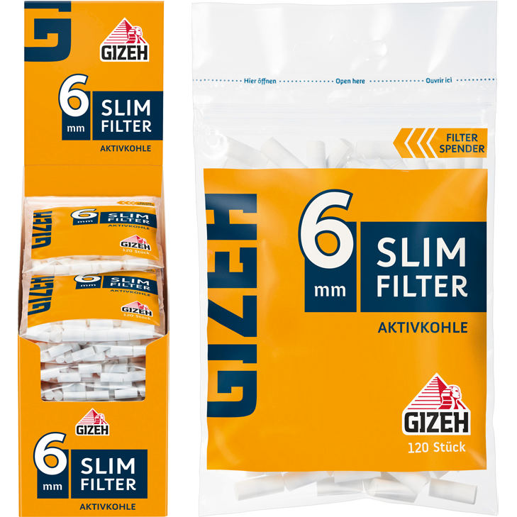 Gizeh Slim Filter Aktivkohle 6 mm 20 x 120 Stück