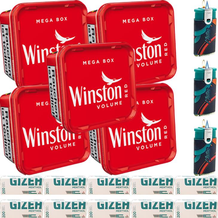 Winston Mega Box 5 x 170g mit 2000 Menthol King Size Hülsen