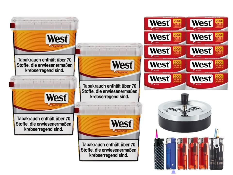 West Yellow Fairwind 4 x 215g Volumentabak 2000 West Red Filterhülsen Uvm.