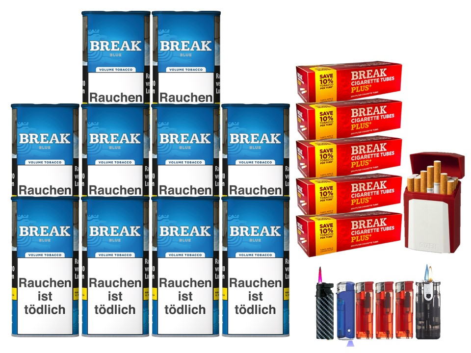 Break Blue / Blau 10 x 120g Volumentabak 1000 Break Xtra Plus Filterhülsen Uvm.