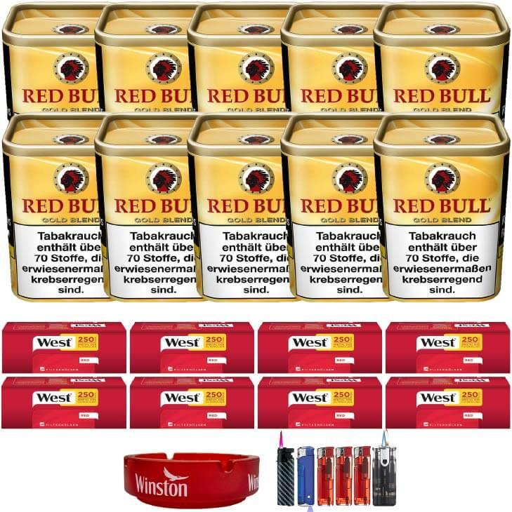 Red Bull Gold Blend 10 x 120g Feinschnitt 2000 Filterhülsen Uvm.