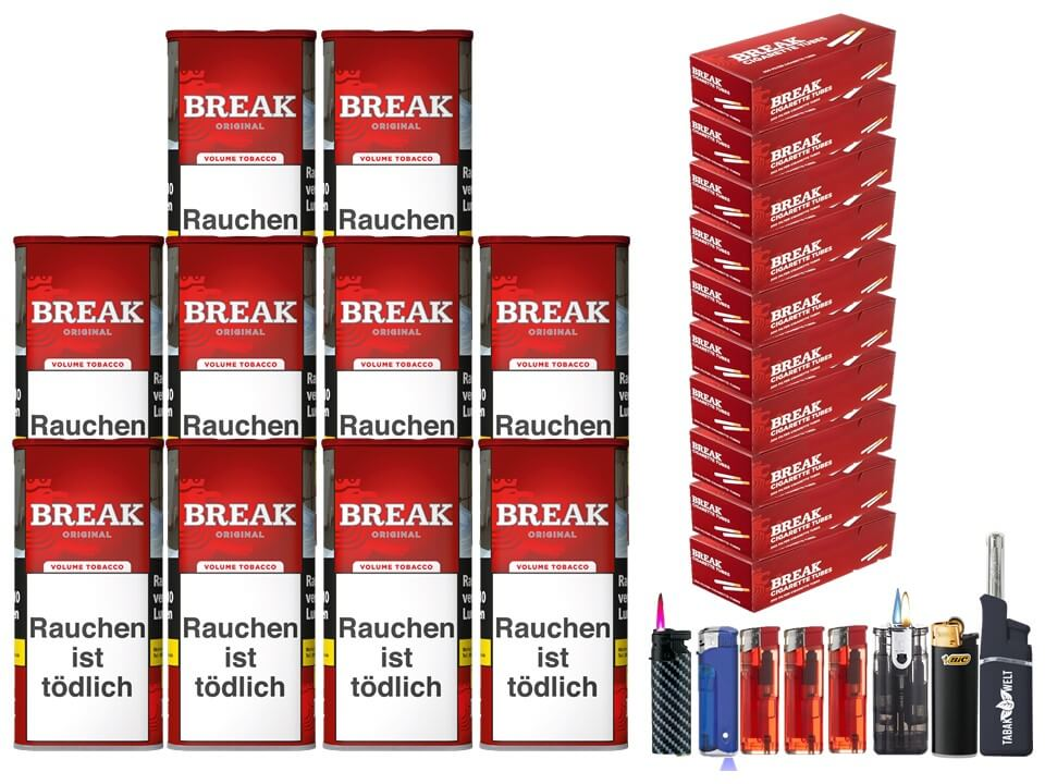 Break Original 10 x 120g Volumentabak 2000 Break Filterhülsen Uvm.