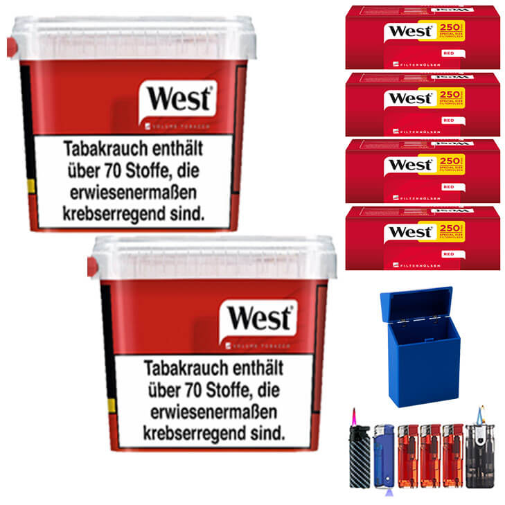West Red 2 x 300g Volumentabak 1000 West Red Special Size Filterhülsen Uvm.