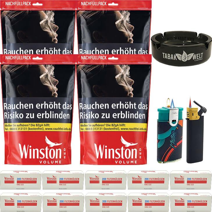 Winston Red 4 x 200g mit 2000 King Size Hülsen