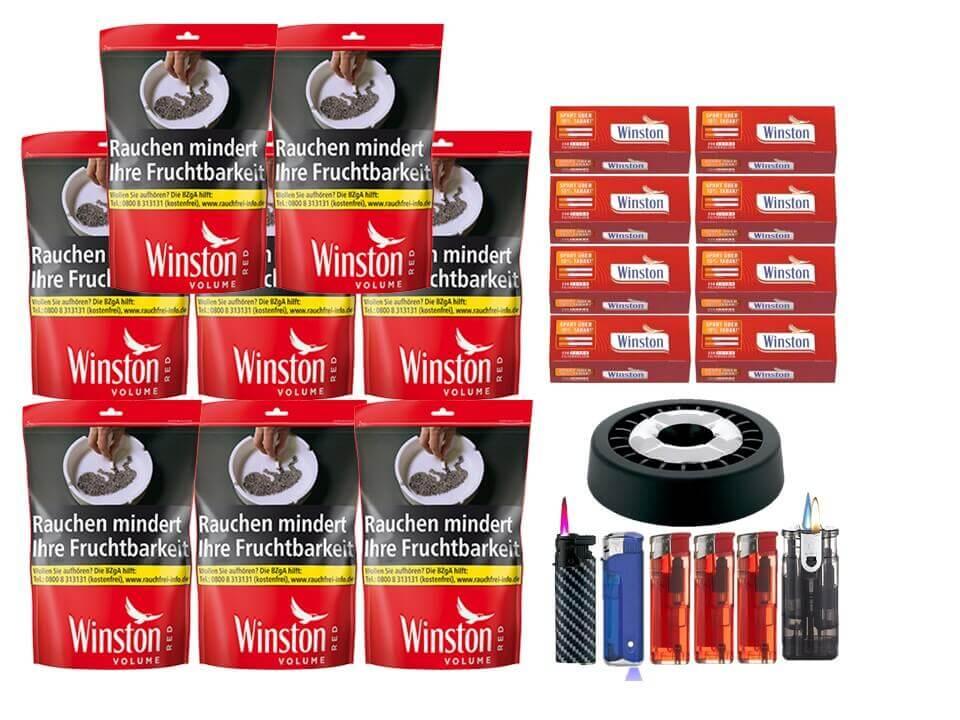 Winston Red 8 x 135g Volumentabak Beutel 2000 Winston Extra Filterhülsen Uvm.