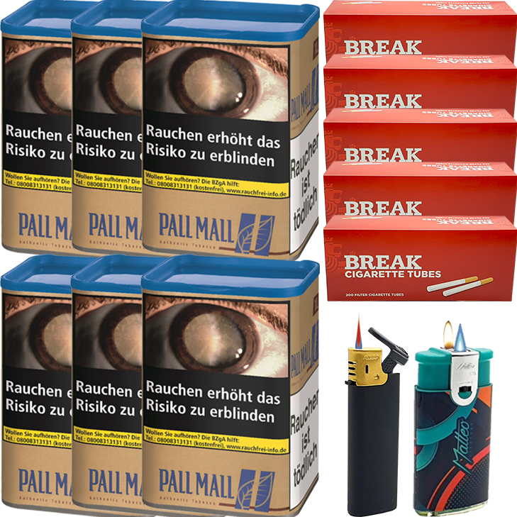 Pall Mall Authentic Blue 6 x 60g mit 1000 King Size Hülsen