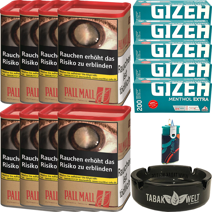 Pall Mall Authentic Red 8 x 60g mit 1000 Extra Size Hülsen