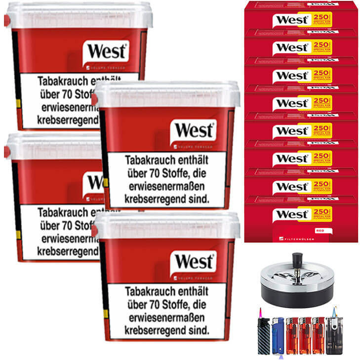 West Red 4 x 280g Volumentabak 2000 West Red Special Size Filterhülsen Uvm.