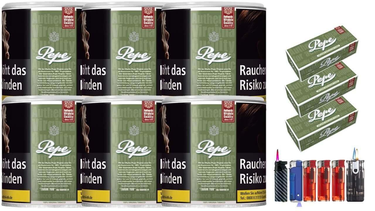 Pepe Rich Green 6 x 80g Feinschnitt / Zigarettentabak 600 Pepe Filterhülsen Uvm.