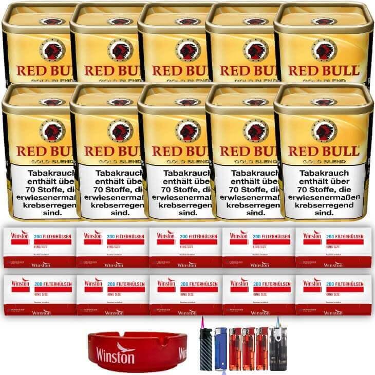 Red Bull Gold Blend 10 x 120g Feinschnitt 2000 King Size Filterhülsen Uvm.