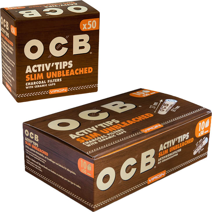 OCB Activ'Tips Slim Unbleached 7 mm 10 x 50 Stück