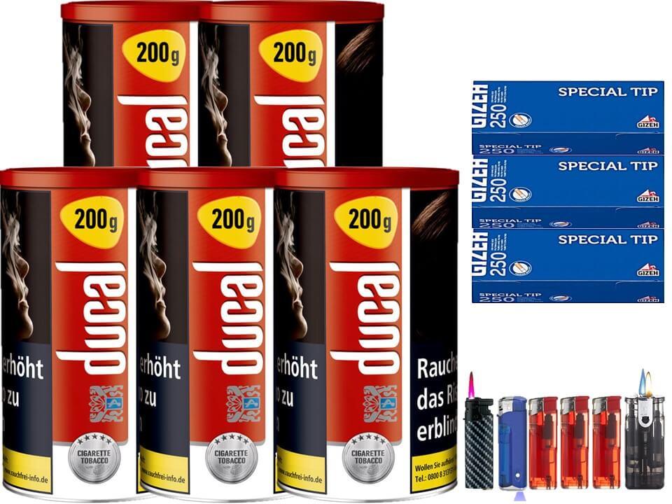 Ducal Red / Rot 5 x 200g Feinschnitt / Zigarettentabak 750 Filterhülsen Uvm.