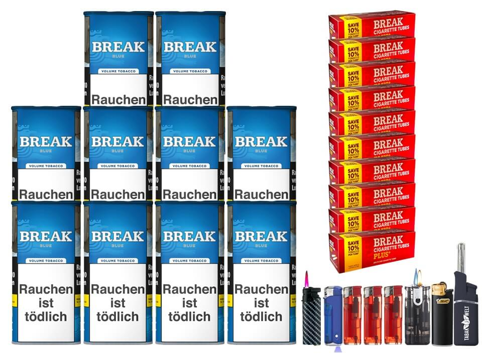 Break Blue / Blau 10 x 120g Volumentabak 2000 Break Xtra Plus Filterhülsen Uvm.