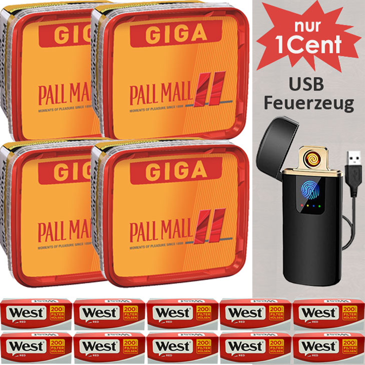 Pall Mall Giga Box 4 x 280g Volumentabak 2000 Red Filterhülsen USB Feuerzeug