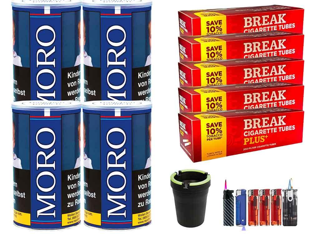 Moro Blau 4 x 200g Feinschnitt-Tabak 1000 Filterhülsen Uvm.