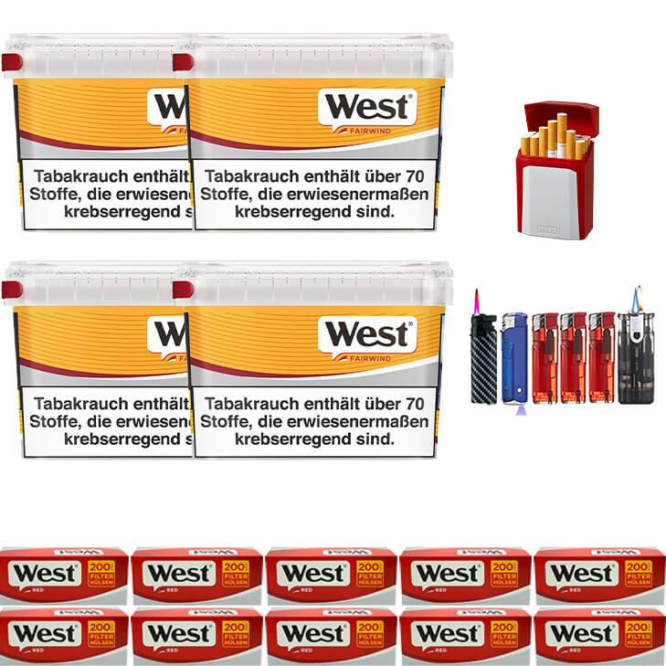 West Yellow 4 x 215g Volumentabak 2000 West Red Filterhülsen Uvm.
