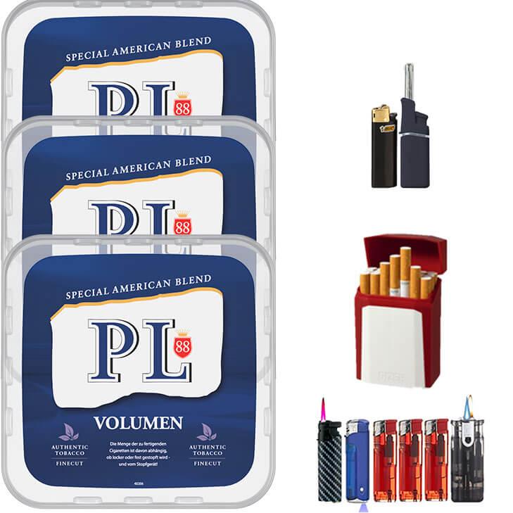 PL88 Blue / Blau 3 x 400g Volumentabak Feuerzeug Set Uvm.