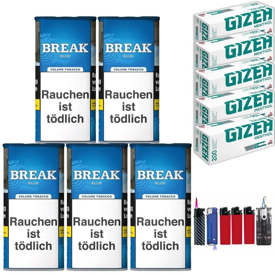 Break Blue / Blau 5 x 120g Volumentabak 1000 Gizeh Menthol Filterhülsen Uvm.