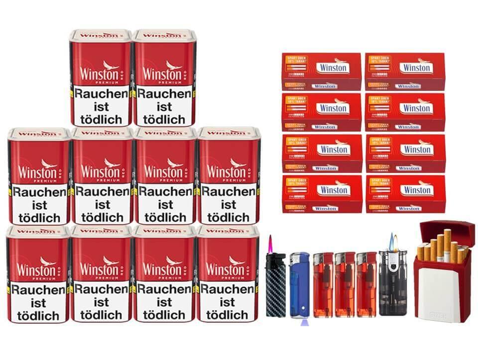 Winston Premium Red 10 x 100g Feinschnitt 2000 Winston Extra Filterhülsen Uvm.