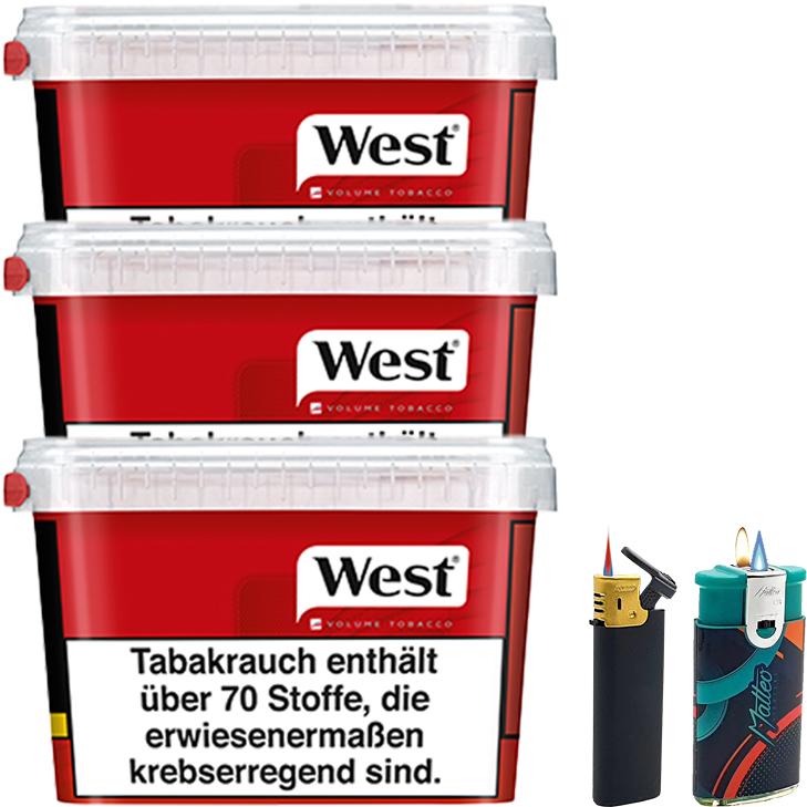 West Red 3 x 170g mit Feuerzeugen