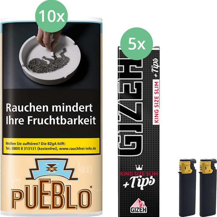 Pueblo Classic 10 x 30g mit Gizeh Black Filter King Size Slim + Tips