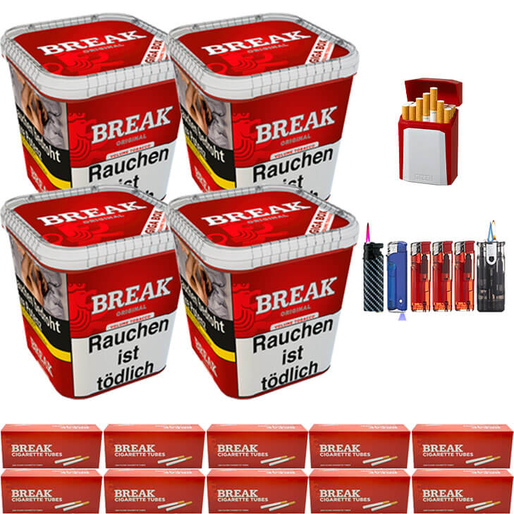 Break Original 4 x 240g Volumentabak 2000 King Size Filterhülsen Uvm.