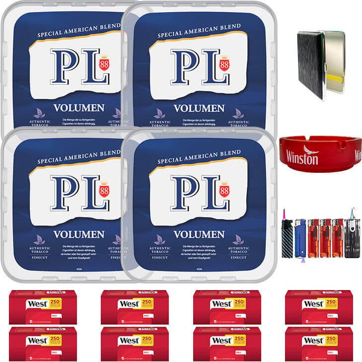 PL88 Blue / Blau 4 x 400g Volumentabak 2000 Red Special Size Filterhülsen Uvm.