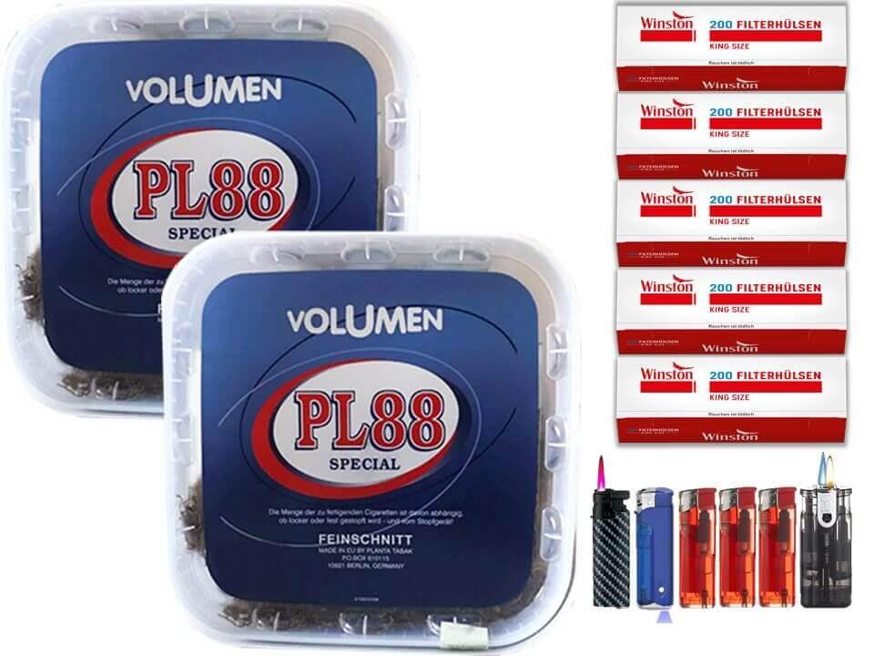 PL88 Blau 2 x 400g Volumentabak 1000 King Size Filterhülsen Uvm.