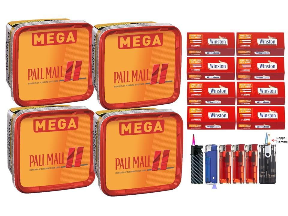 Pall Mall Mega Box 4 x 170g Volumentabak 2000 Extra Size Filterhülsen Uvm.