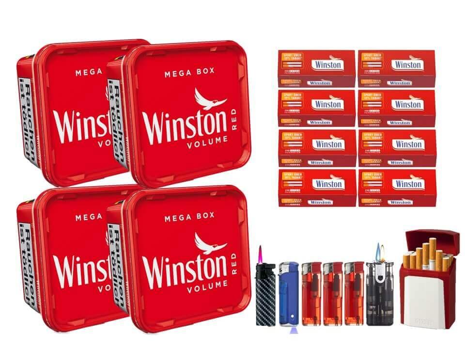 Winston Mega Box 4 x 170g Volumentabak 2000 Winston Extra Size Filterhülsen Uvm.