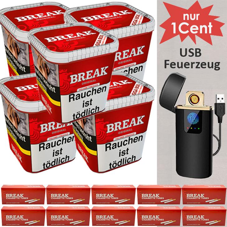 Break Original 5 x 240g mit 2000 King Size Hülsen und USB Feuerzeug