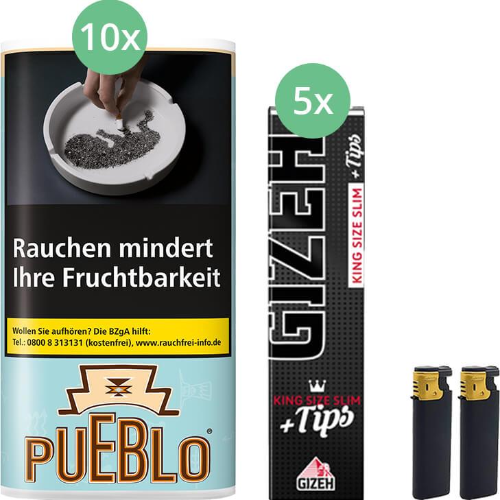 Pueblo Blue 10 x 30g mit Gizeh Black Filter King Size Slim