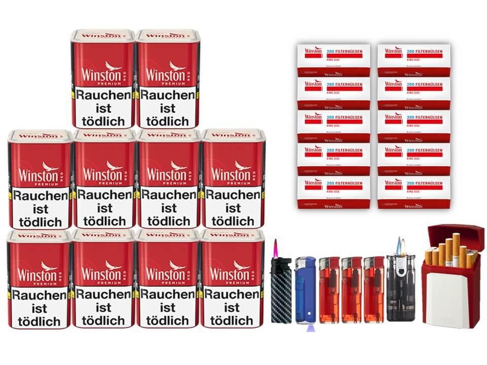 Winston Premium Red 10 x 100g Feinschnitt 2000 Winston Filterhülsen Uvm.