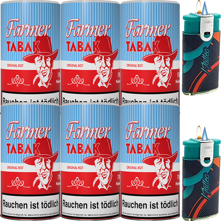 Farmer Rot 6 x 170g Pfeifentabak mit Duo Feuerzeuge