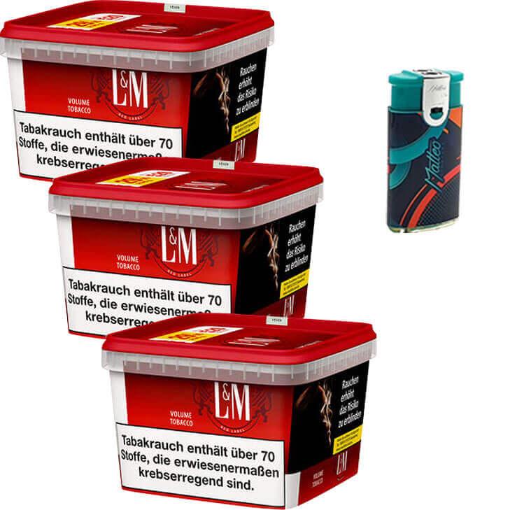 L&M Red Mega Box 3 x 170g Volumentabak Duo Feuerzeuge mit 2 Flammen