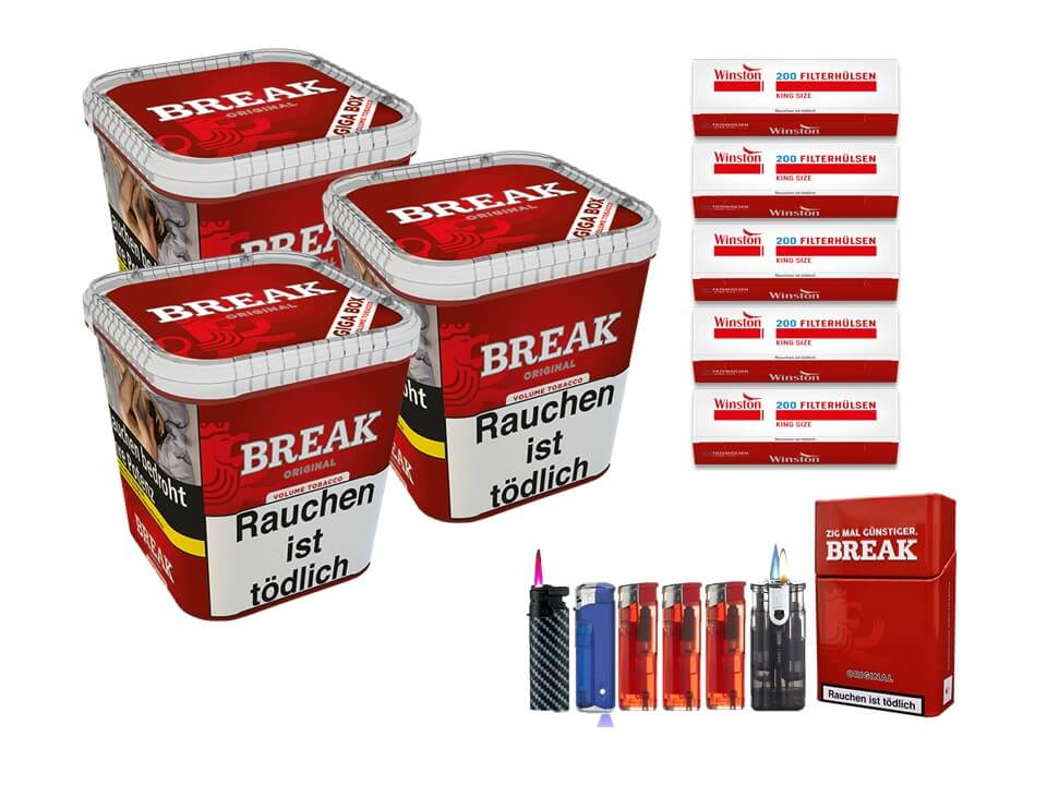 Break Original 3 x 240g Volumentabak 1000 King Size Filterhülsen Uvm.