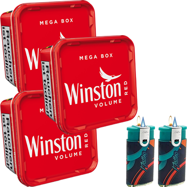 Winston Mega Box 3 x 170g mit 2 x Duo Feuerzeuge