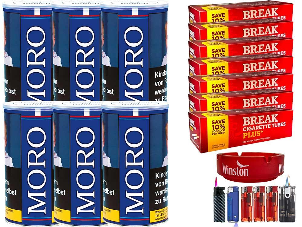 Moro Blau 6 x 200g Feinschnitt-Tabak 1400 Filterhülsen Uvm.
