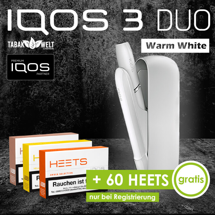 IQOS™ 3 DUO Starterkit Warm White + 60 Heets