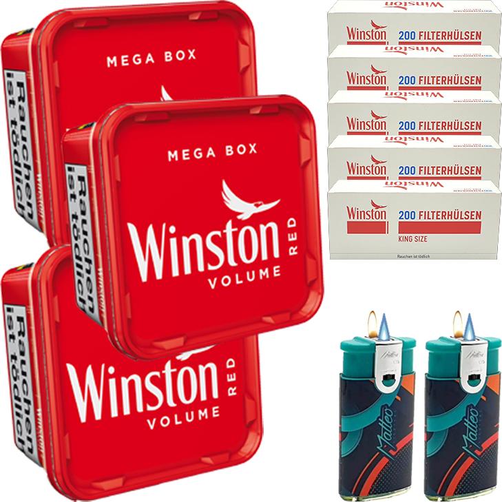 Winston Mega Box 3 x 170g mit 1000 King Size Hülsen