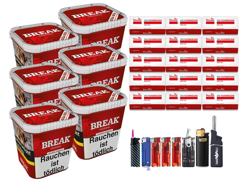 Break Original 6 x 240g Volumentabak 3000 King Size Filterhülsen Uvm.
