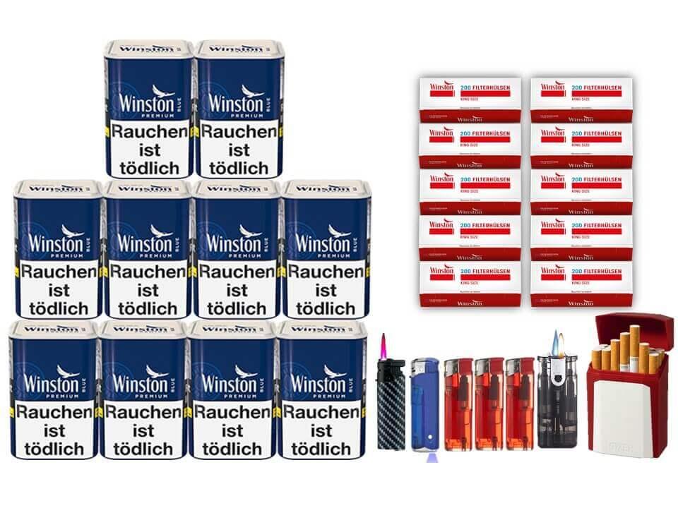 Winston Premium Blue 10 x 100g Feinschnitt 2000 Winston Filterhülsen Uvm.