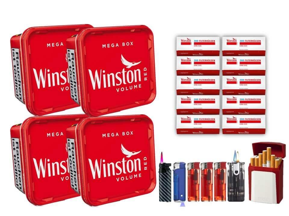 Winston Mega Box 4 x 170g Volumentabak 2000 Winston Filterhülsen Uvm.