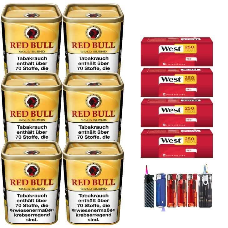 Red Bull Gold Blend 6 x 120g Feinschnitt 1000 Special Size Filterhülsen Uvm.