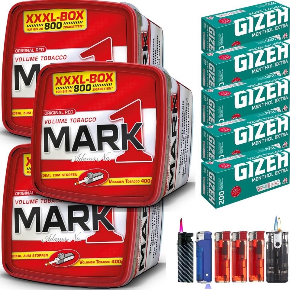 Mark 1 XXXL Box 3 x 400g mit 1000 Menthol Extra Hülsen