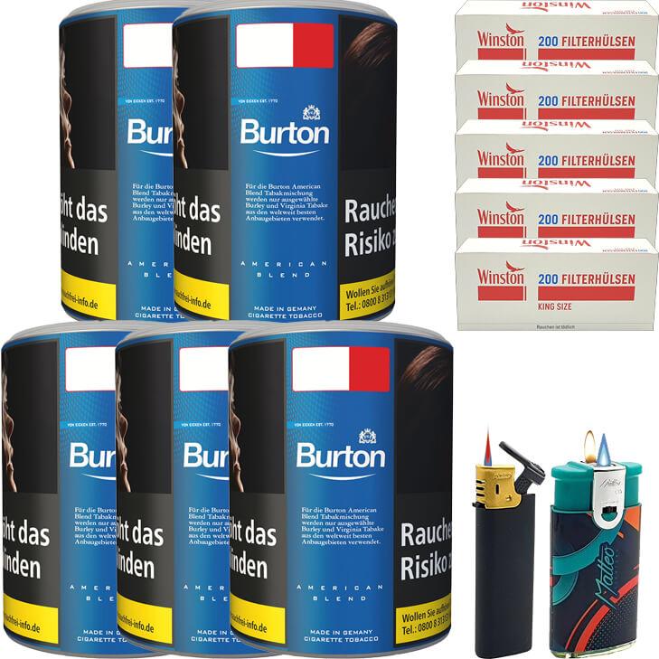 Burton Blue / Blau 5 x 120g mit 1000 King Size Hülsen