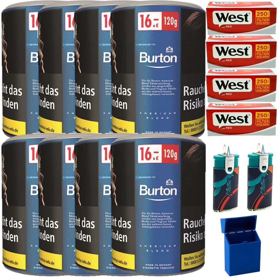 Burton Blue / Blau 8 x 120g Feinschnitt Tabak 1000 Special Size Filterhülsen Uvm.